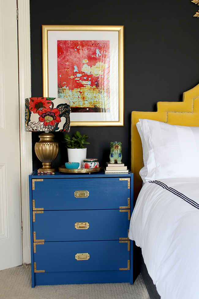 Find out how to style a bedside table and create a Boho Brights look