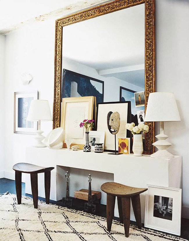 eclectic symmetrical console table display