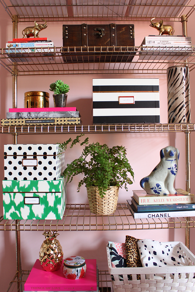 Swoon Worthy - Brass Ikea office shelving