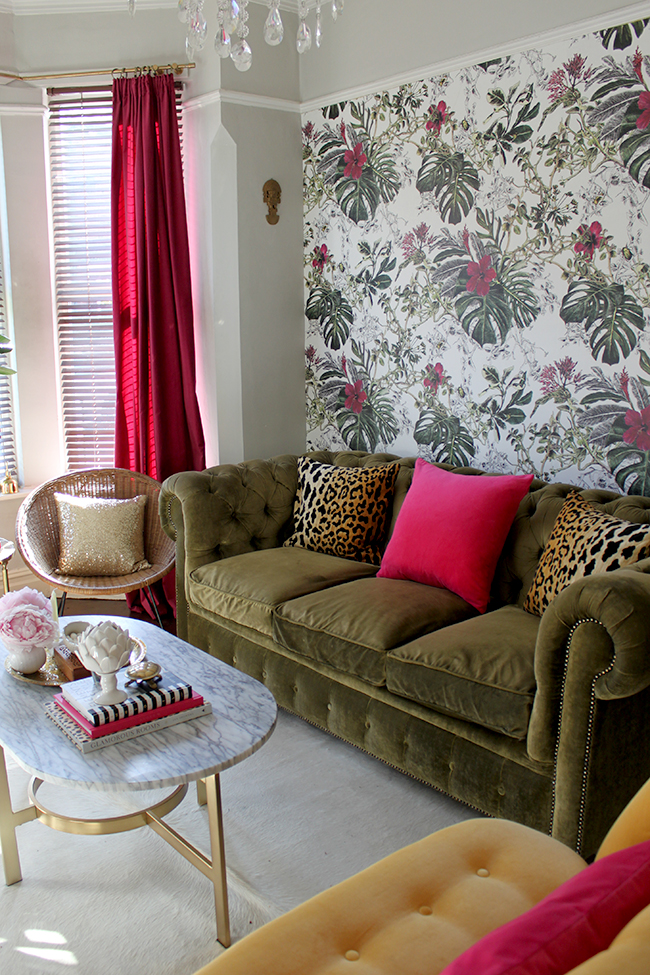 Swoon Worthy - tropical wallpaper with olive velvet chesterfield