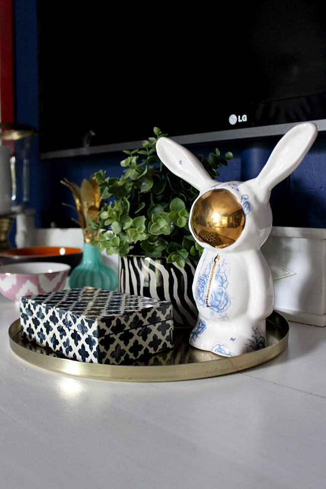 Swoon Worthy dining room - vignette with space bunny and moroccan box