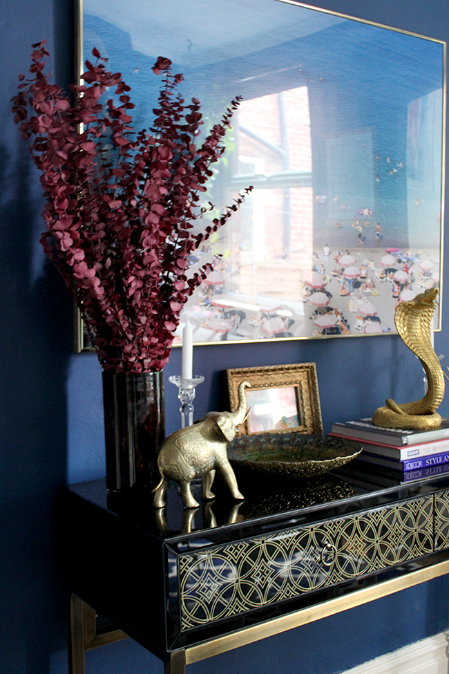Swoon Worthy dining room - console table vignette indigo blue, cranberry and gold