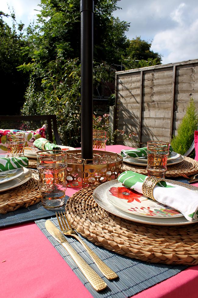 Eclectic Boho Glam Garden Reveal - Swoon Worthy - garden table