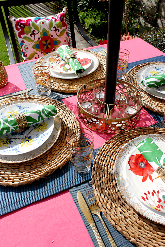 Eclectic Boho Glam Garden Reveal - Swoon Worthy - Boho Brights Table Setting
