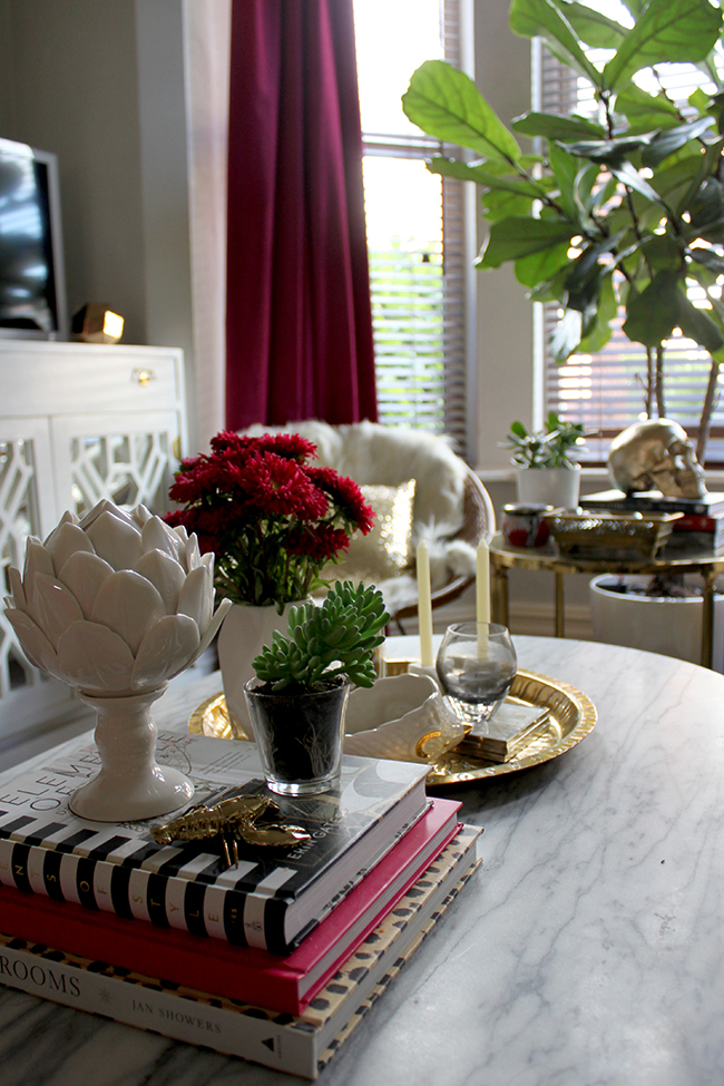 Swoon Worthy Living Room - marble coffee table - dark berry and gold