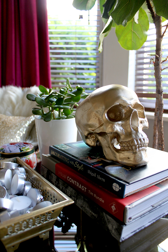 Swoon Worthy Living Room - gold skull vignette