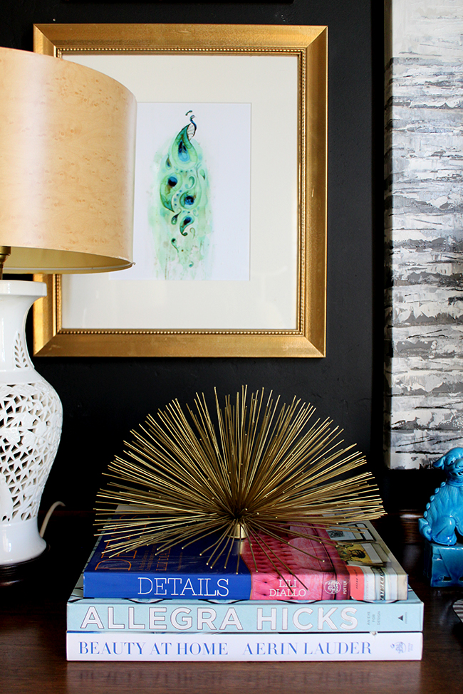 Swoon Worthy - chest of drawers vignette detail - brass urchin, peacock watercolour art