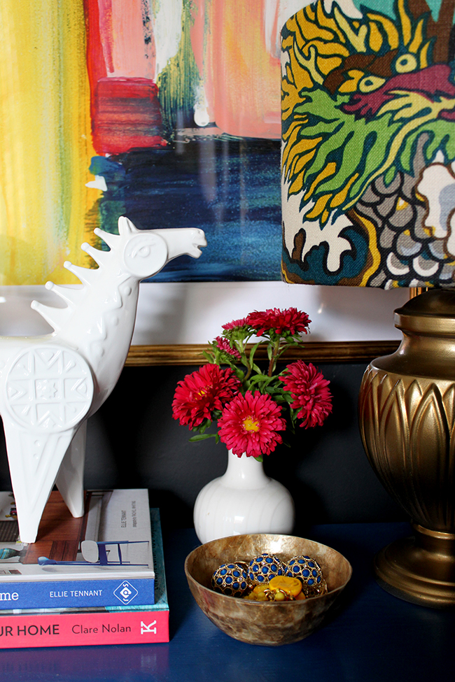 Swoon Worthy - bedside table vignette colourful boho white horse