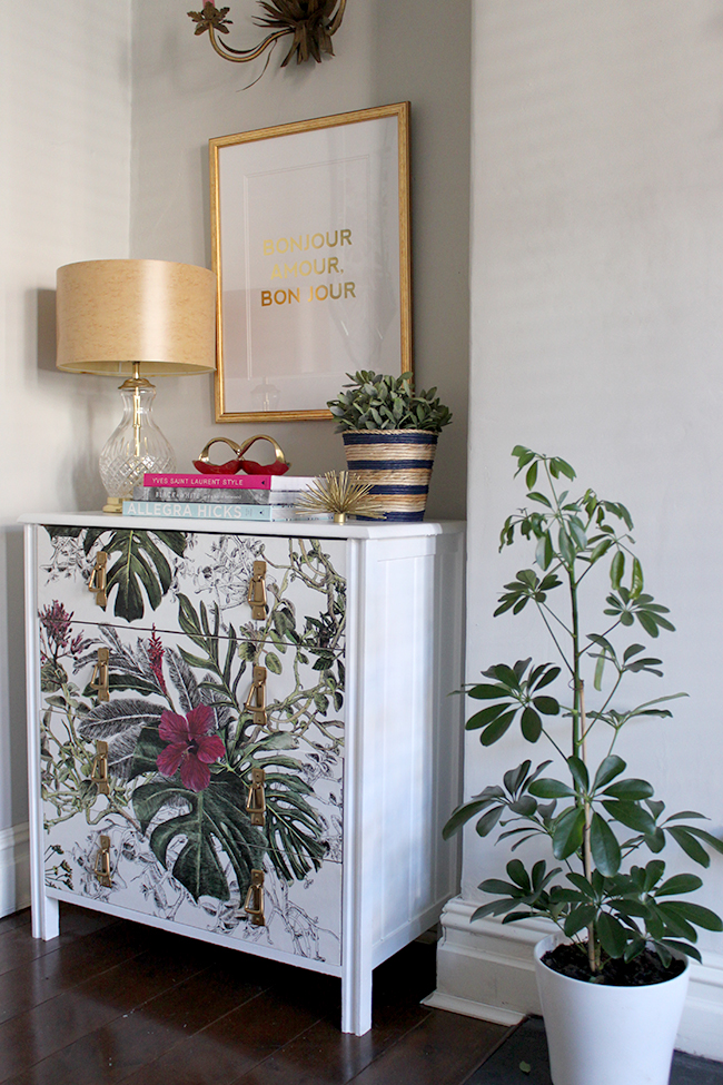 DIY wallpaper chest of drawers