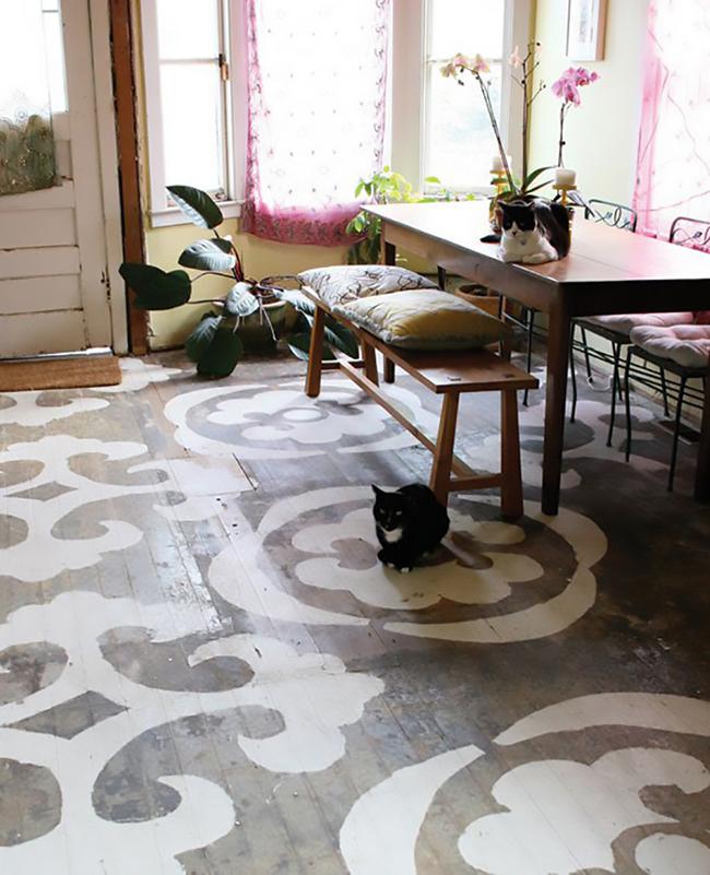 painted wood floorboards