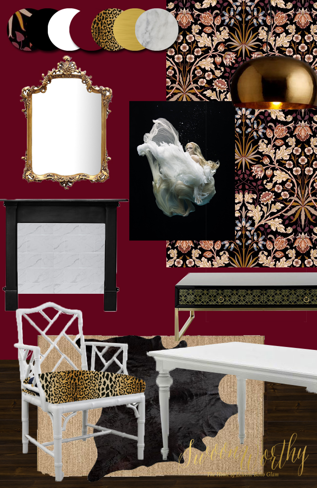 Swoon Worthy Dining Room Moodboard in berry, black and gold