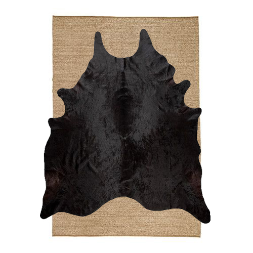 Sinnerlig rug ikea seagrass with black cowhide on top