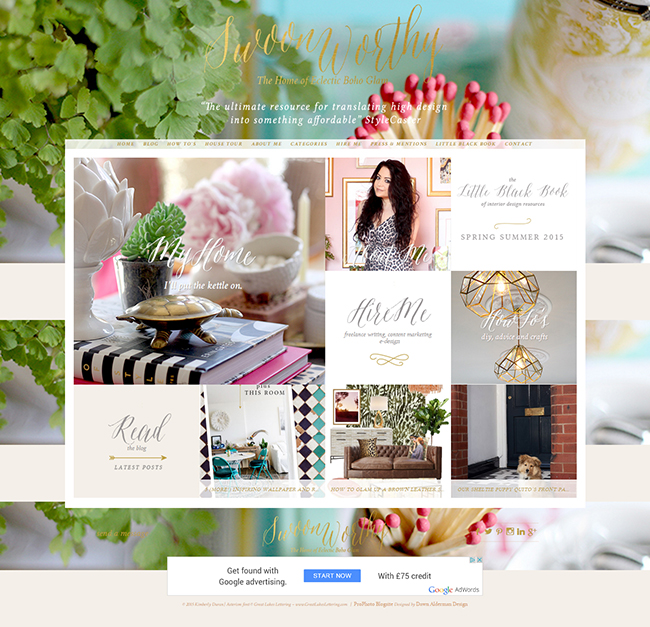Swoon Worthy Homepage Screen Shot Aug 2015