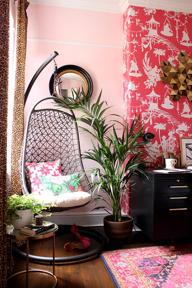 Swoon Worthy office - hanging chair with leopard print curtains and blush pink walls