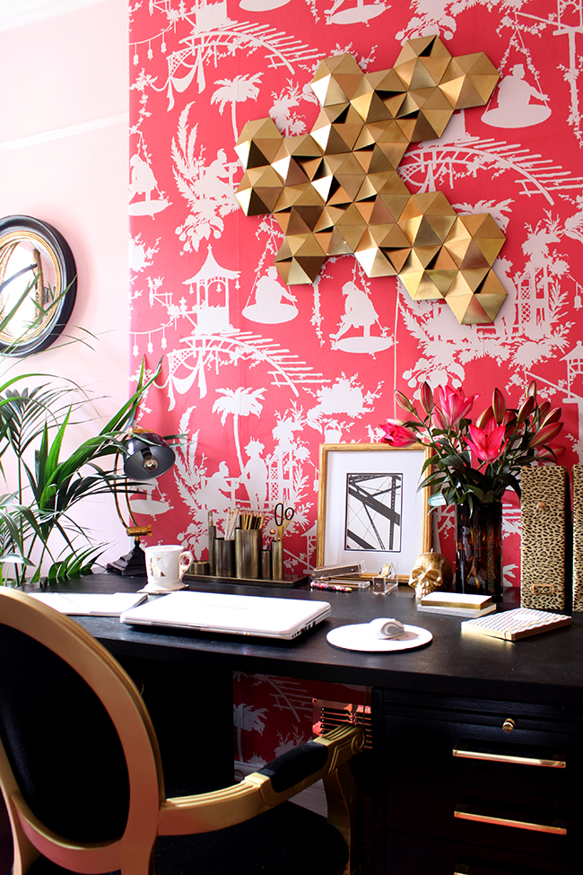 Swoon Worthy - office with bright pink wallpaper and leopard print file folders