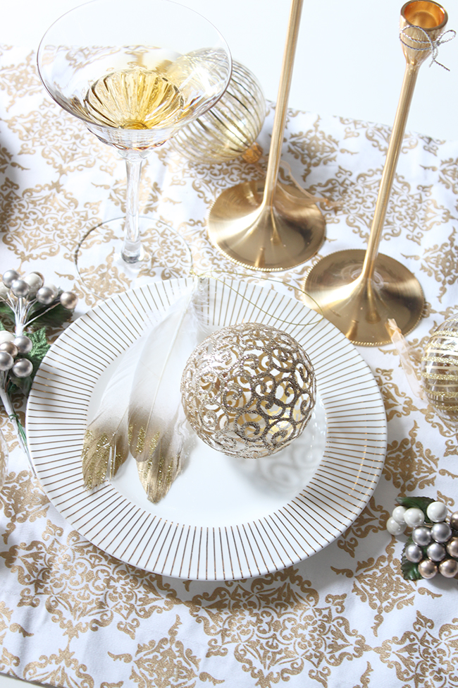 Christmas preparations - gold plates and baubles