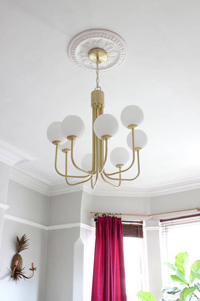 Swoon Worthy - living room brass light fixture from John Lewis