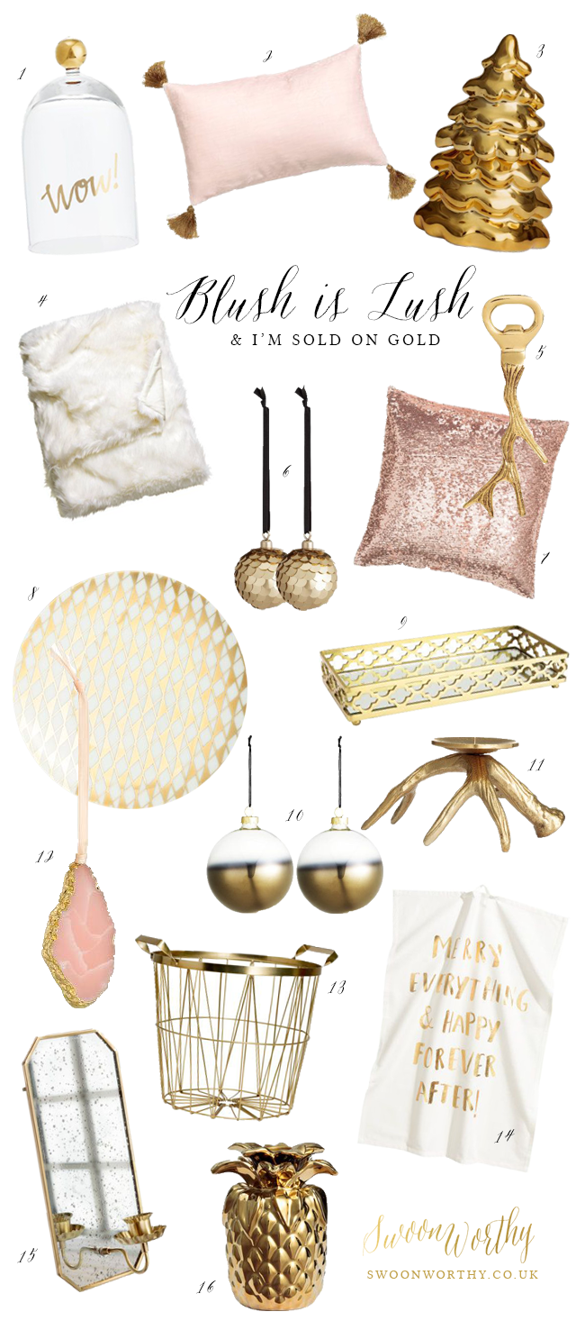 Gold and Blush Pink Buying Guide HM Home - Swoon Worthy
