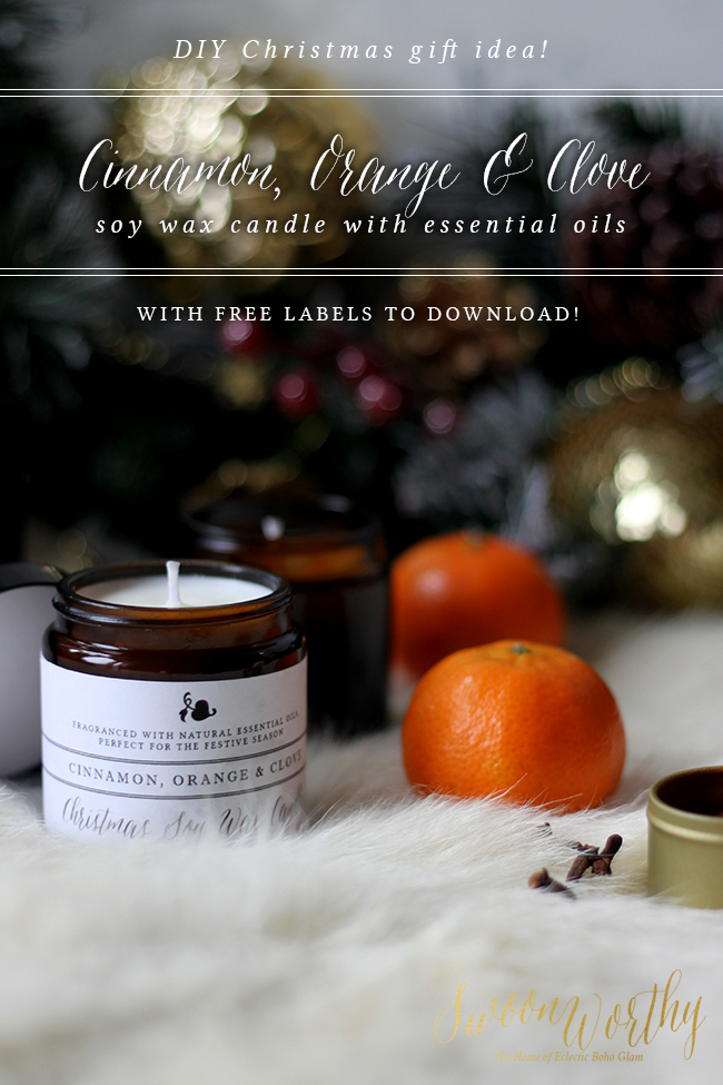 DIY Cinnamon Orange and Clove Christmas Candle