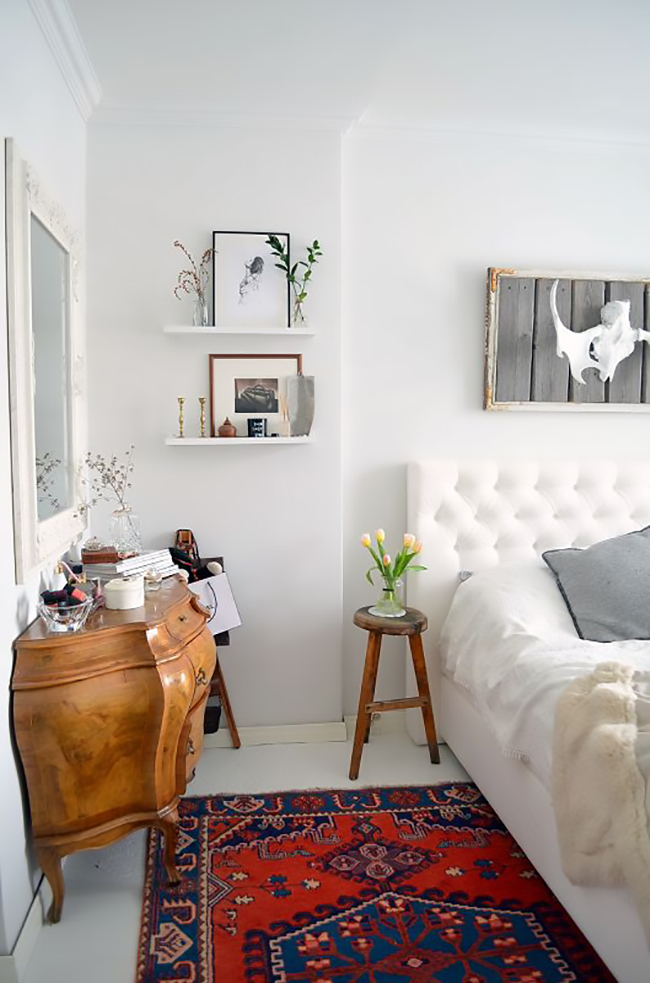 eclectic bedroom in white