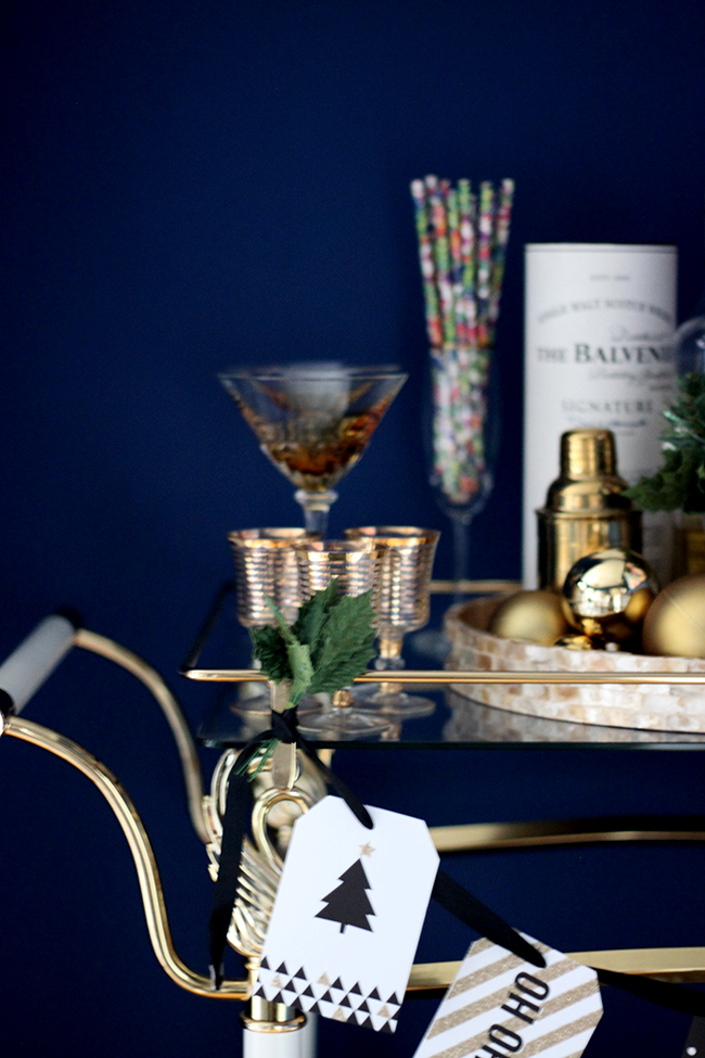 Swoon Worthy - Christmas Dining Room bar cart - see more at www.swoonworthy.co.uk