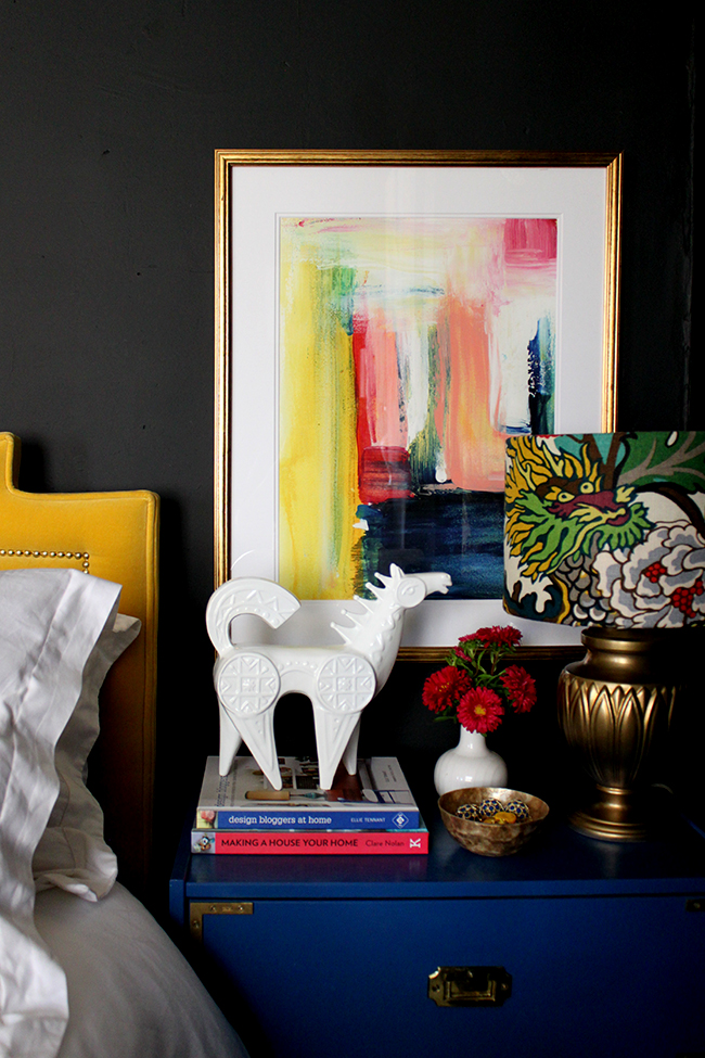 Swoon Worthy bedroom - bedside table styling with black walls and bright accents - www.swoonworthy.co.uk