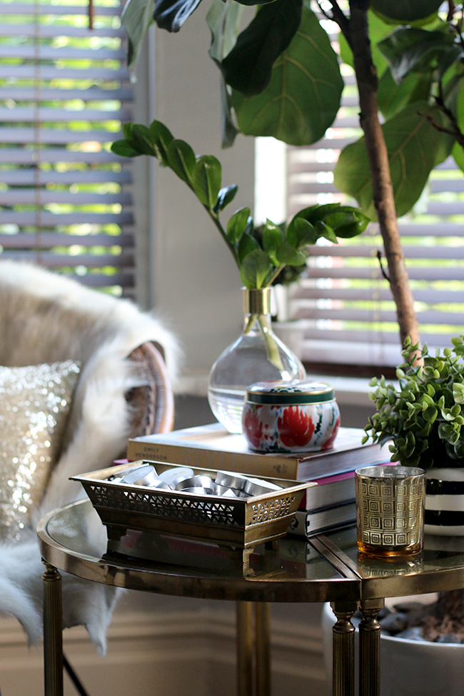 Swoon Worthy - Goals for 2016 - brass side table vignette with plants