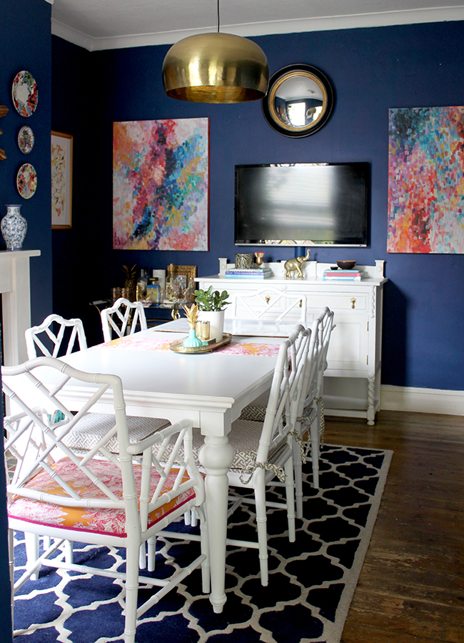 Swoon Worthy Dining Room With DIY Abstract Paintings