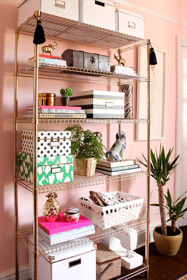 One of my favourite Ikea hacks within my office is the Ikea Omar Shelves painted gold via Swoon Worthy