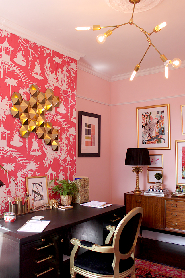 Swoon Worthy office - pink walls with white picture rail and coving
