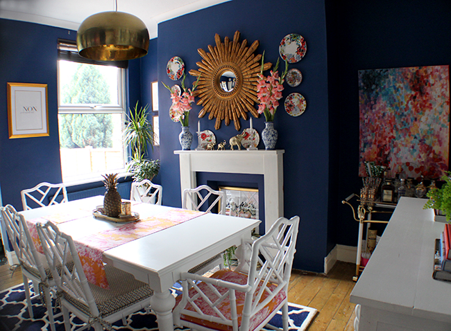 Swoon Worthy dark blue dining room