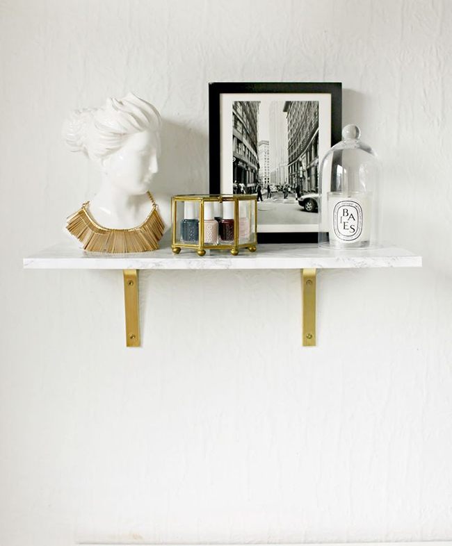 Shannon Burlap and Lace DIY marble shelf