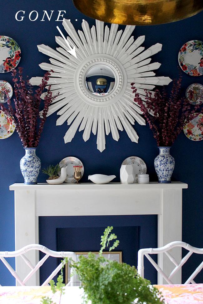 White sunburst mirror for sale