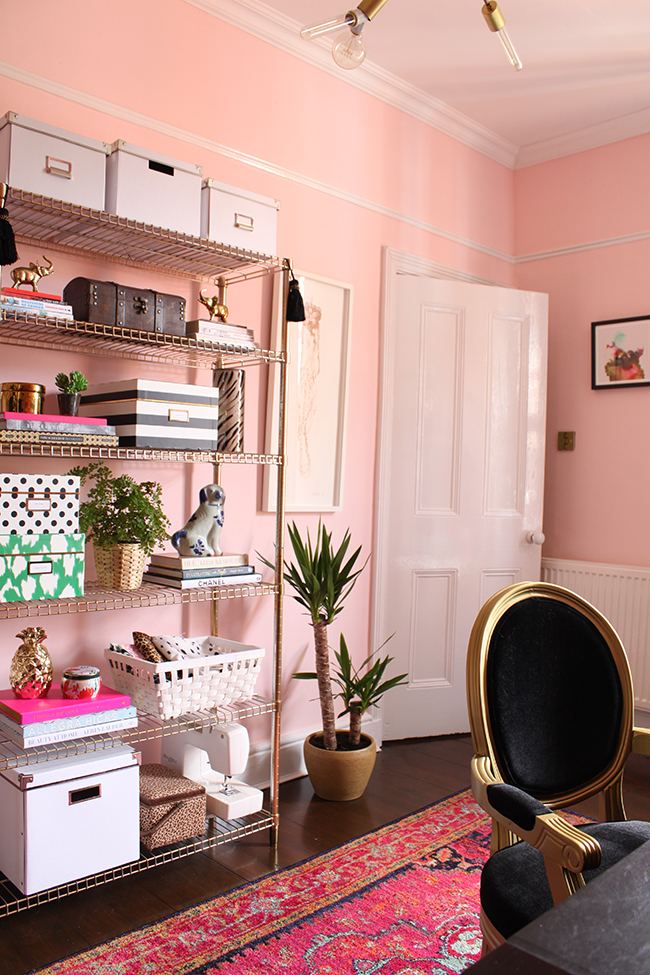Swoon Worthy blush pink office with gold shelves