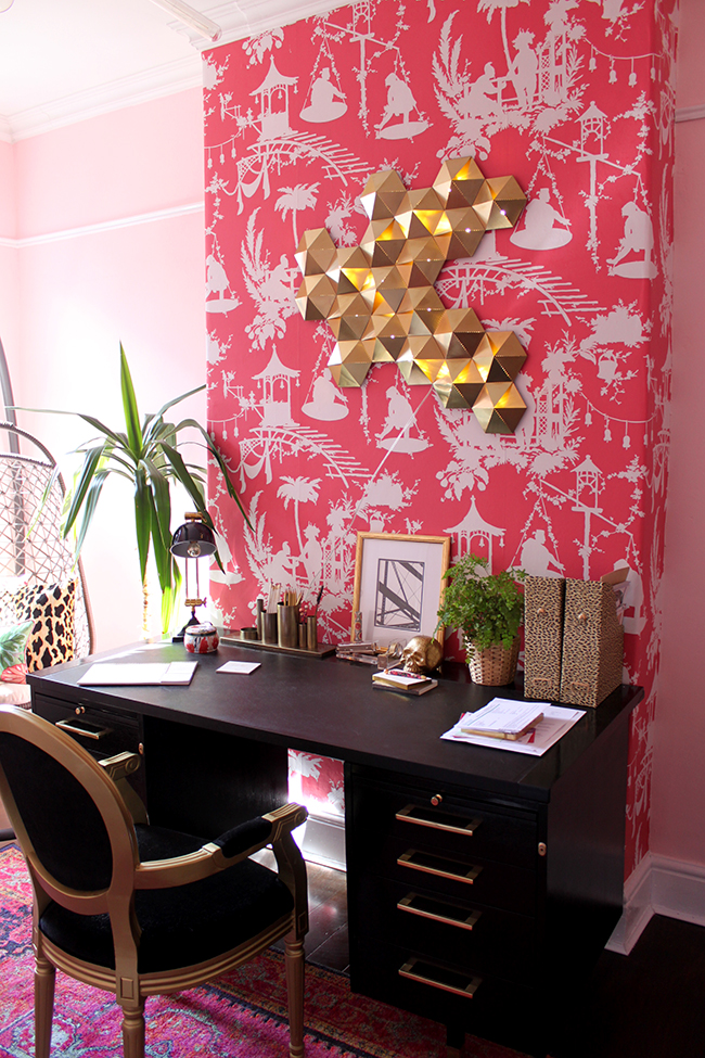 black desk in pink wallpapered office - see more at www.swoonworthy.co.uk