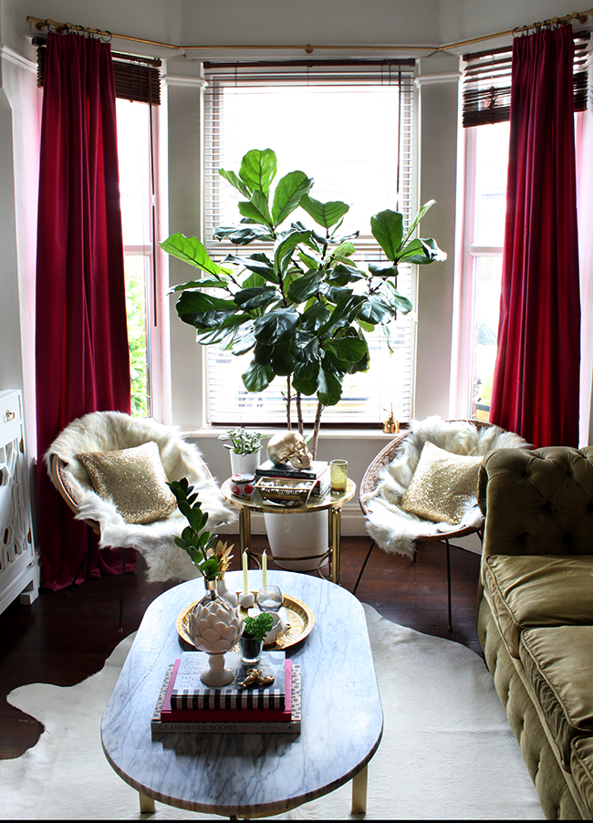 living room with vintage hoop chairs and fiddle leaf fig - see more at www.swoonworthy.co.uk