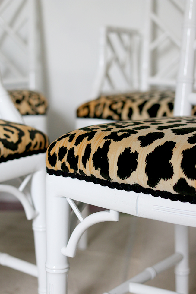leopard print jamil natural fabric faux bamboo chippendale chairs - see more at www.swoonworthy.co.uk