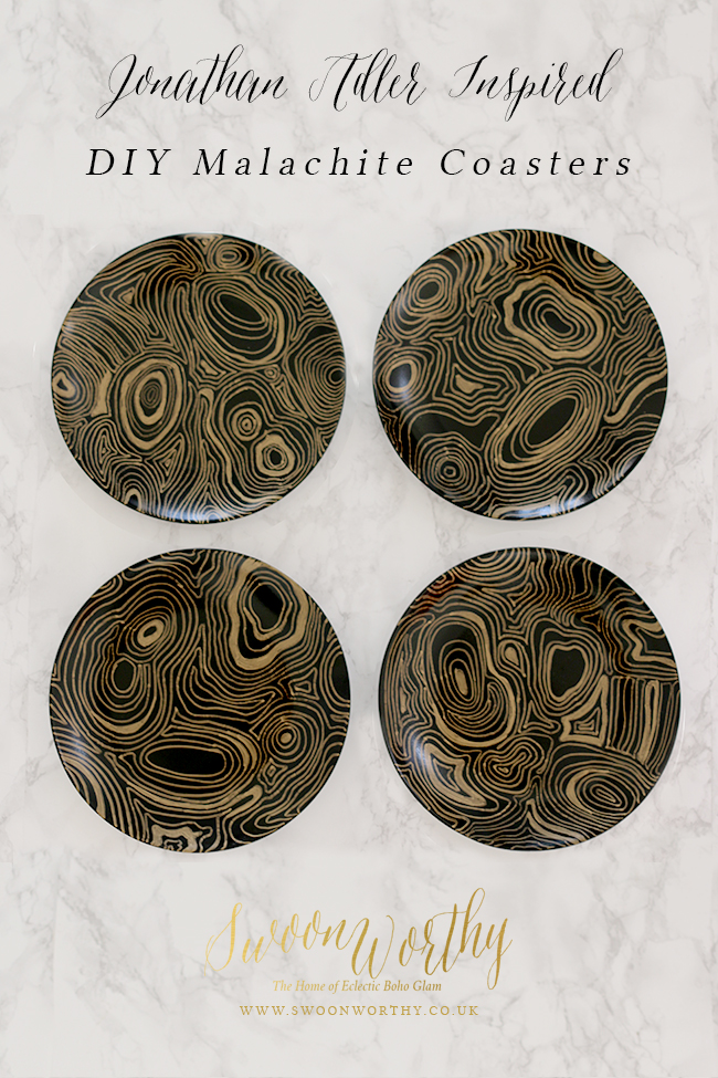 Jonathan Adler Malachite Coasters DIY - see how to create these on www.swoonworthy.co.uk