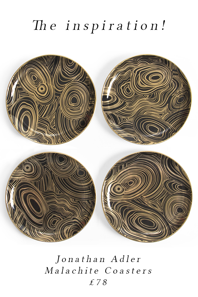original jonathan adler malachite coasters - see the DIY version on www.swoonworthy.co.uk