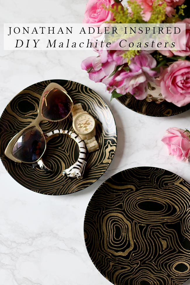 Jonathan Adler Inspired DIY Malachite Coasters feature image