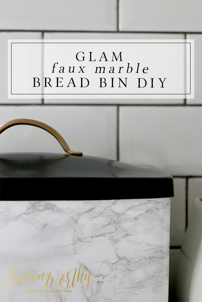 I looked for a glamorous bread bin and when I couldn't find one, I decided to make it! Check out my simple faux marble DIY bread bin tutorial.