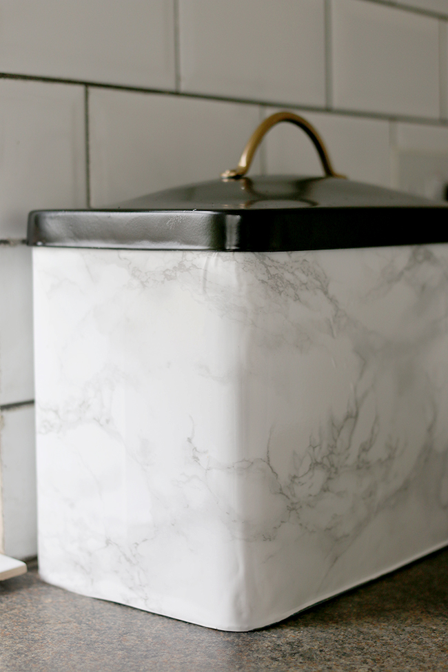 Glam up your kitchen with a faux marble DIY bread bin