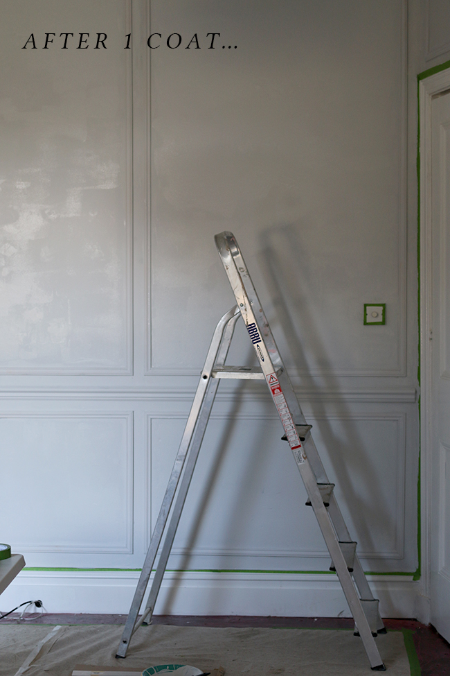 Wondering is Farrow & Ball worth the money? This is one coat of Farrow & Ball Blackened over white paint.
