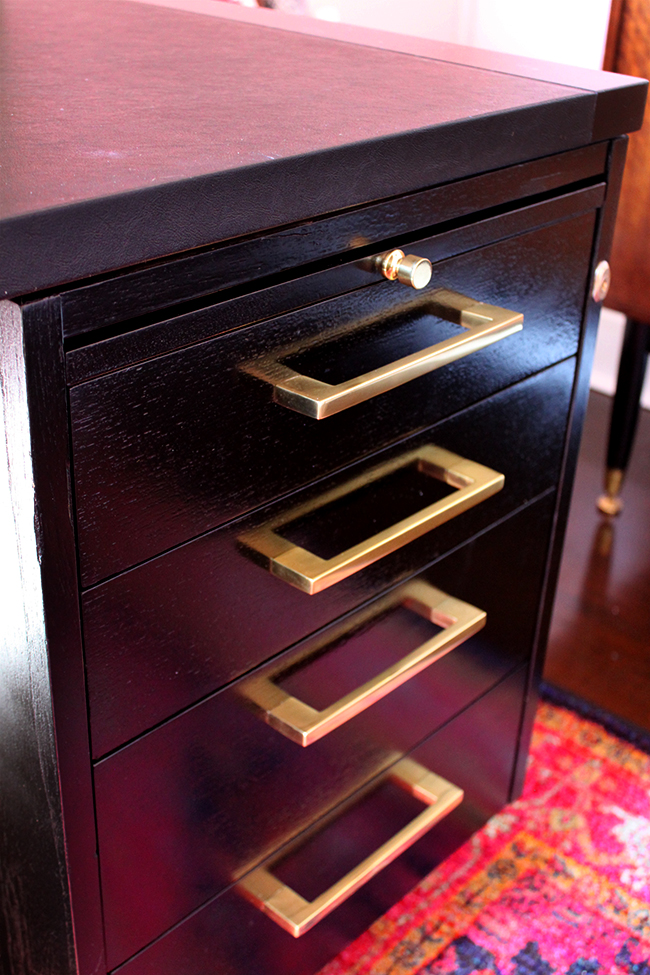 brass cupboard pulls on desk