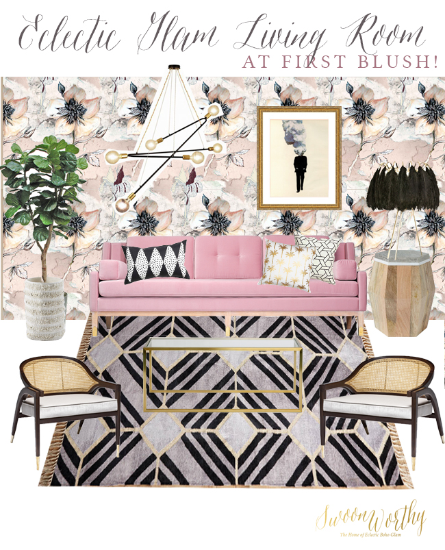 Eclectic Boho Glam Living Room in Blush, Black and Gold
