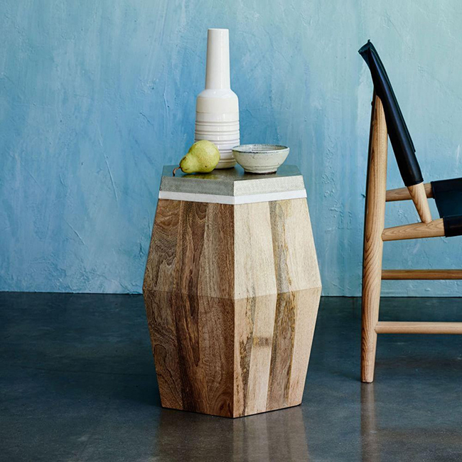Multi layered wood metal and marble side table from West Elm