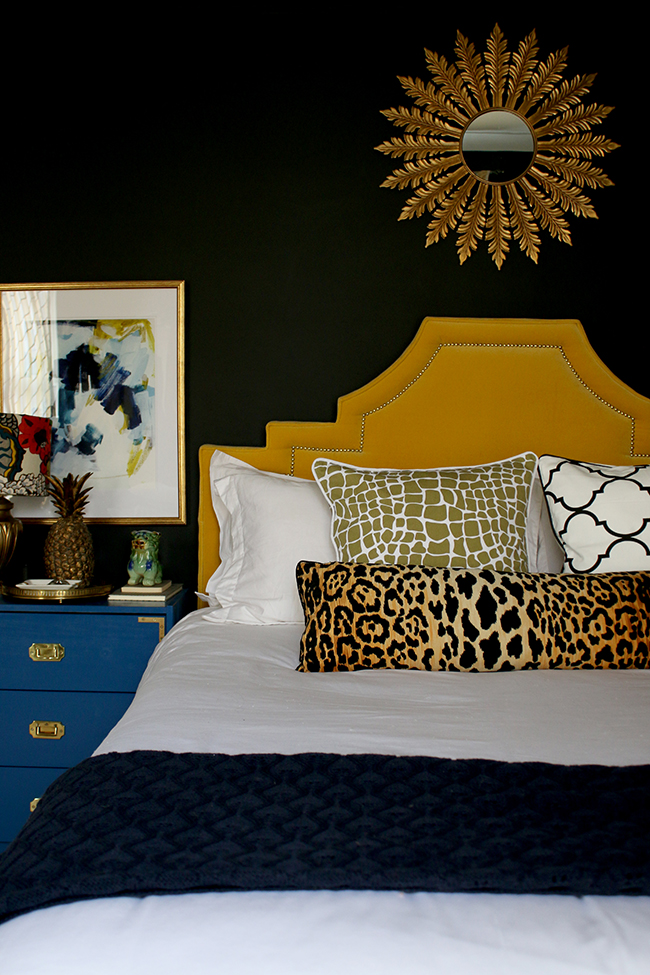 DIY Bolster Cushion Insert tutorial - black bedroom with yellow headboard and leopard print bolster cushion - see more on www.swoonworthy.co.uk