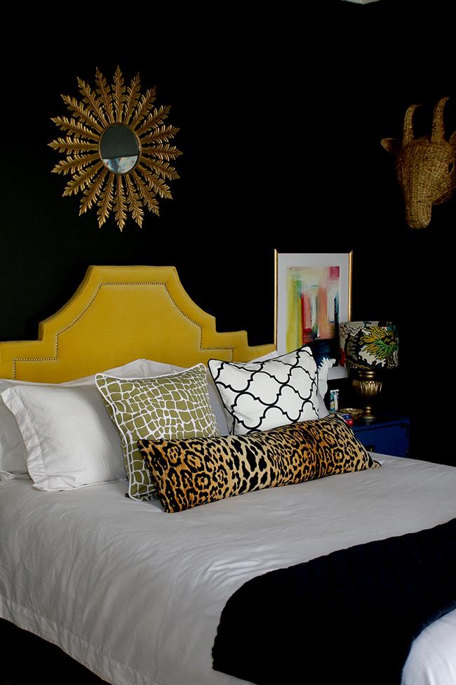 DIY Bolster Cushion Insert tutorial - black bedroom with yellow headboard and leopard print bolster cushion