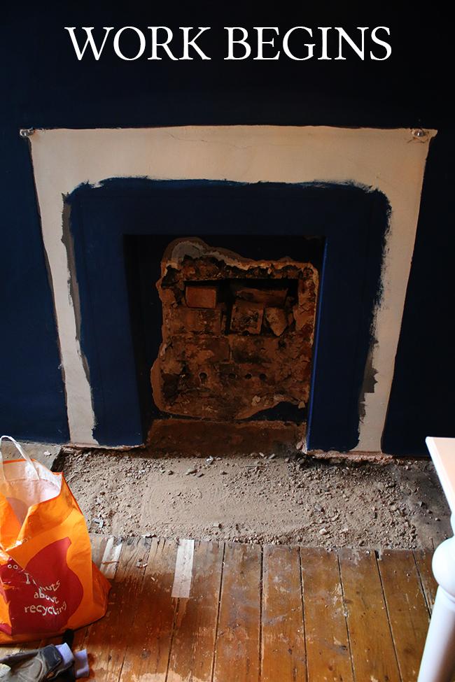 fireplace remodel work begins