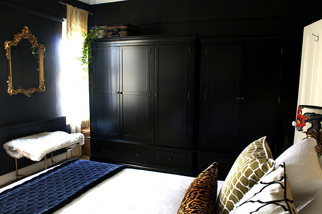 black freestanding wardrobe from Very in black bedroom - see more at www.swoonworthy.co.uk